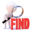 "Little man magnifies the word ""FIND"""