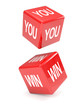 """Red dice falling spell """"YOU WIN"""""""