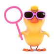 Easter chick in shades holds a blank sign