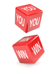 "Red dice falling spell ""YOU WIN"""