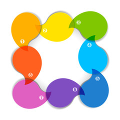 Colorful diagram with eight blank boxes