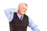 A mature gentleman suffering from a neck pain
