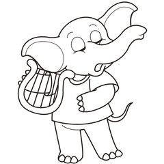 Cartoon Elephant Playing a Harp