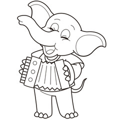 Cartoon Elephant Playing an Accordion