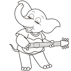 Cartoon Elephant Playing a Guitar