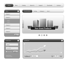 Clean Website Design Elements Gray
