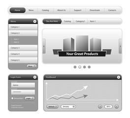 Clean Website Design Elements Gray