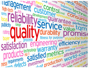"""QUALITY"" Tag Cloud (satisfaction guarantee service reliability)"