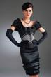 Girl in black evening beaded dress