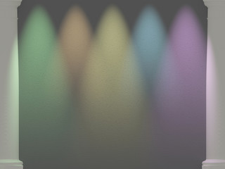 Multicolor spotlights illuminated wall with columns. Space for t