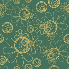 Floral Seamless Dark Green