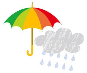 Umbrella and rain cloud