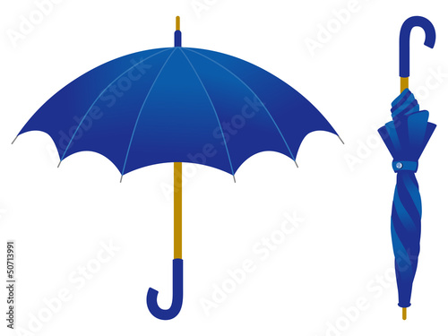 Blue umbrella, open and closed