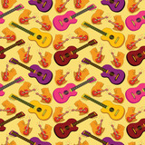 Seamless background, guitars
