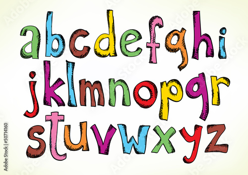 Doodled letters of the alphabet