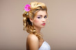 Charm. Elegant Blond Woman Fiancee with Flowers. Womanliness