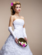 Marriage. Bride in Bridal Dress, Unusual Bouquet of Flowers