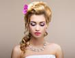 Wedding. Bride with Diamond Necklace. Elegance & Femininity