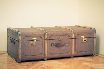 Vintage old big travel suitcase