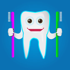 Tooth character holding toothbrush