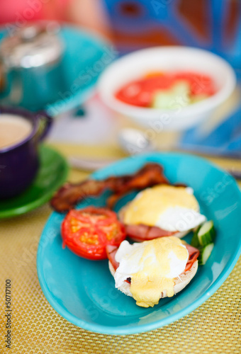 Delicious eggs served for breakfast