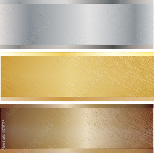 Metal texture set. Vector illustration.