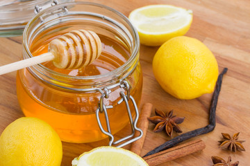honey in jar  and spices