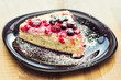 Hommade cottage-cheese tart with forest fruit