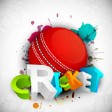 Abstract sports concept with shiny cricket ball on wave backgrou