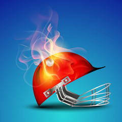 Cricket helmet in flame on blue background.