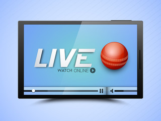 Illustration of Cricket match live telecast promotion on interne