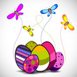 Beautiful Easter background with decorated eggs and butterflies.