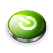 Vector green glossy power button icon