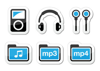 Mp3 player vector icons set