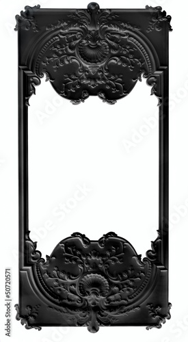 Black bas rlief frame over white background