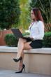 Pretty brunette native american businesswoman