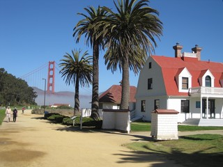 Golden Gate bridge in San Francisco with palm trees