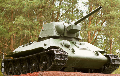 Soviet T34 tank, the legend of the Second World War. Side view - 50721761