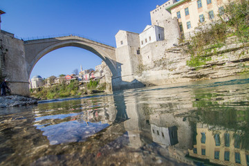 Old bridge over river Neretva in Mostar, Bosnia and Herzegovina
