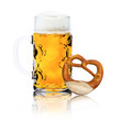 Maß Bier mit Brezel