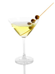 Martini glass with olives isolated on white