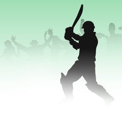 Cricket batsman in playing motion, sports concept.