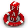 """Аббревиатура """"FAQ""""  в центре спасательного круга"""