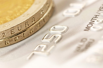 Euro coins with credit card