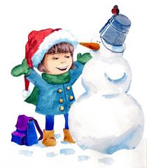 building snowman