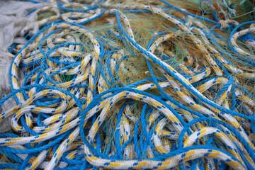 Detail of fishing nets and ropes