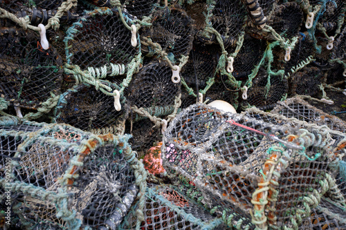 Close-up view of lobster crab fishing pots