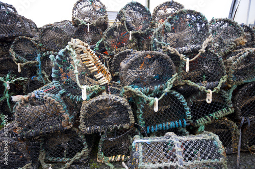 Front view of lobster and crab fishing pots