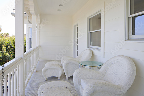 Two chairs on empty deck