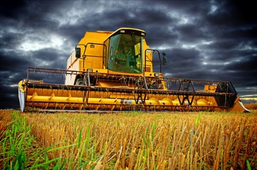 Combine Harvester and sky with dark clouds